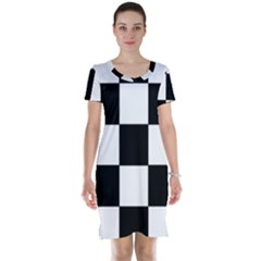 Grid Domino Bank And Black Short Sleeve Nightdress