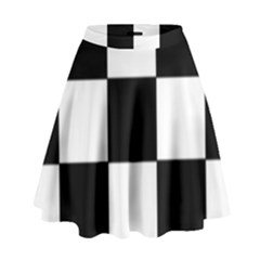 Grid Domino Bank And Black High Waist Skirt
