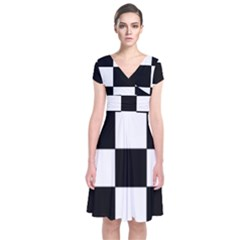 Grid Domino Bank And Black Short Sleeve Front Wrap Dress