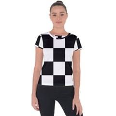 Grid Domino Bank And Black Short Sleeve Sports Top
