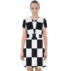 Grid Domino Bank And Black Adorable In Chiffon Dress