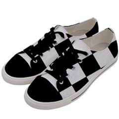 Grid Domino Bank And Black Men s Low Top Canvas Sneakers by Nexatart