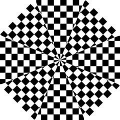 Grid Domino Bank And Black Hook Handle Umbrellas (small) by Nexatart