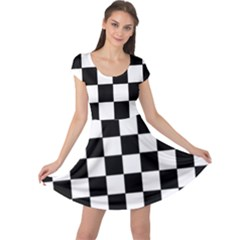 Grid Domino Bank And Black Cap Sleeve Dress