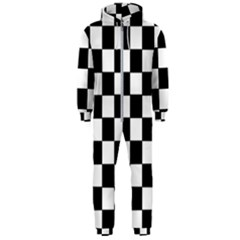 Grid Domino Bank And Black Hooded Jumpsuit (men)