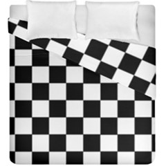 Grid Domino Bank And Black Duvet Cover Double Side (king Size)