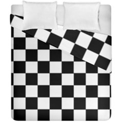 Grid Domino Bank And Black Duvet Cover Double Side (california King Size)