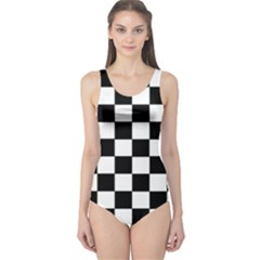 Grid Domino Bank And Black One Piece Swimsuit