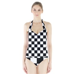 Grid Domino Bank And Black Halter Swimsuit