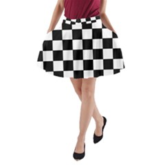 Grid Domino Bank And Black A Line Pocket Skirt