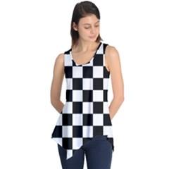 Grid Domino Bank And Black Sleeveless Tunic