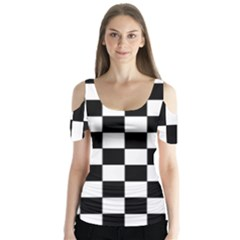 Grid Domino Bank And Black Butterfly Sleeve Cutout Tee