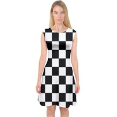 Grid Domino Bank And Black Capsleeve Midi Dress