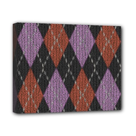 Knit Geometric Plaid Fabric Pattern Canvas 10  X 8  by paulaoliveiradesign