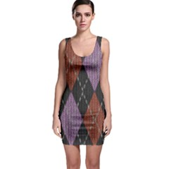 Knit Geometric Plaid Fabric Pattern Bodycon Dress by paulaoliveiradesign