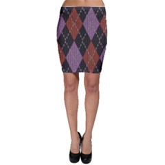 Knit Geometric Plaid Fabric Pattern Bodycon Skirt by paulaoliveiradesign