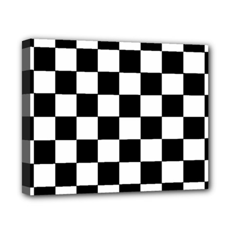 Grid Domino Bank And Black Canvas 10  X 8