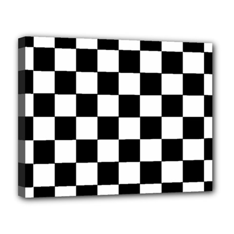 Grid Domino Bank And Black Canvas 14  X 11