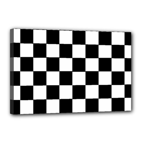 Grid Domino Bank And Black Canvas 18  X 12