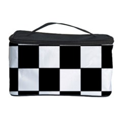 Grid Domino Bank And Black Cosmetic Storage Case