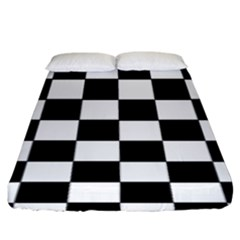 Grid Domino Bank And Black Fitted Sheet (king Size) by Nexatart