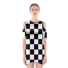 Grid Domino Bank And Black Shoulder Cutout One Piece