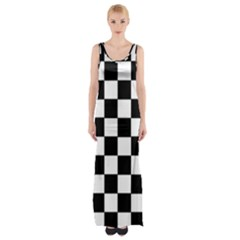 Grid Domino Bank And Black Maxi Thigh Split Dress