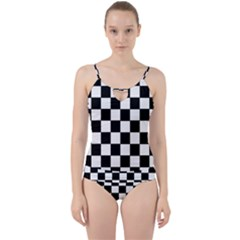 Grid Domino Bank And Black Cut Out Top Tankini Set by Nexatart