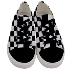 Grid Domino Bank And Black Men s Low Top Canvas Sneakers