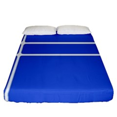 Stripes Pattern Template Texture Blue Fitted Sheet (queen Size)