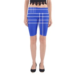 Stripes Pattern Template Texture Blue Yoga Cropped Leggings