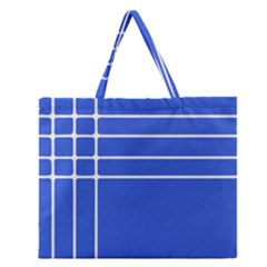 Stripes Pattern Template Texture Blue Zipper Large Tote Bag by Nexatart