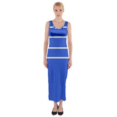 Stripes Pattern Template Texture Blue Fitted Maxi Dress
