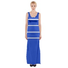 Stripes Pattern Template Texture Blue Maxi Thigh Split Dress