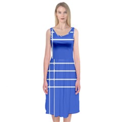 Stripes Pattern Template Texture Blue Midi Sleeveless Dress