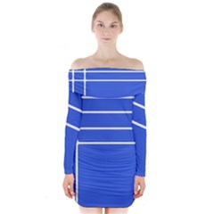 Stripes Pattern Template Texture Blue Long Sleeve Off Shoulder Dress
