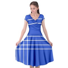 Stripes Pattern Template Texture Blue Cap Sleeve Wrap Front Dress