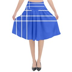 Stripes Pattern Template Texture Blue Flared Midi Skirt