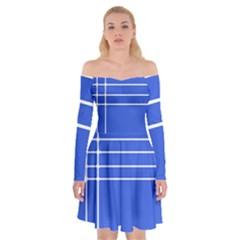 Stripes Pattern Template Texture Blue Off Shoulder Skater Dress