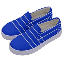 Stripes Pattern Template Texture Blue Kids  Canvas Slip Ons by Nexatart