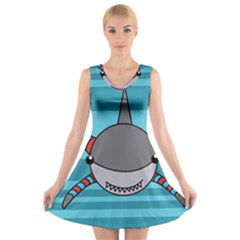 Shark Sea Fish Animal Ocean V Neck Sleeveless Skater Dress
