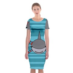 Shark Sea Fish Animal Ocean Classic Short Sleeve Midi Dress