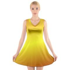 Gradient Orange Heat V Neck Sleeveless Skater Dress
