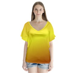 Gradient Orange Heat V Neck Flutter Sleeve Top