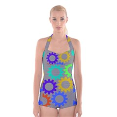 Gear Transmission Options Settings Boyleg Halter Swimsuit