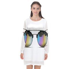 Sunglasses Shades Eyewear Long Sleeve Chiffon Shift Dress