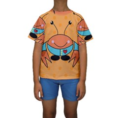 Crab Sea Ocean Animal Design Kids  Short Sleeve Swimwear