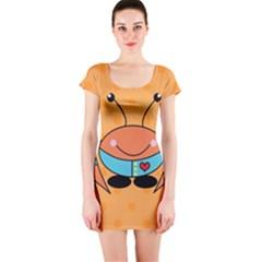 Crab Sea Ocean Animal Design Short Sleeve Bodycon Dress