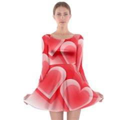 Heart Love Romantic Art Abstract Long Sleeve Skater Dress