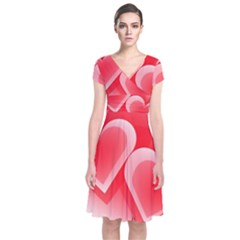 Heart Love Romantic Art Abstract Short Sleeve Front Wrap Dress